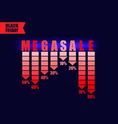 black friday mega sale advert on dark background vector image