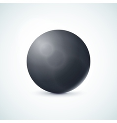 Black glossy sphere isolated on white vector image