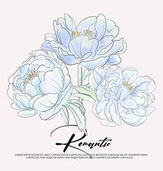 blue peony flowers graphic invitation botanical vector image