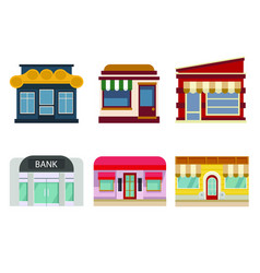 buildings and facades shops and bank vector image