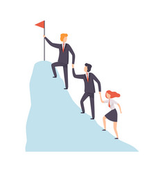 Business people climbing to top mountain vector