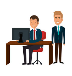 Businesspeople in training process vector