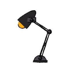 cartoon office desk lamp yellow light icon vector image