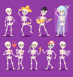Cartoon skeleton bony character mexican vector