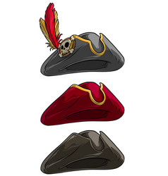 Cartoon tricorne pirate hat with skull and feather vector