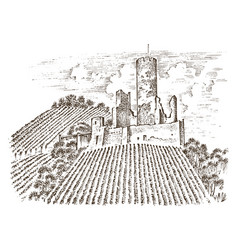 castle on a hill ancient landscape for the label vector image