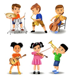Children playing instruments vector