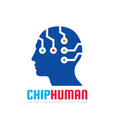 Chip human head - logo template concept vector