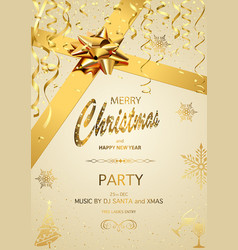 christmas party invitation on gold background vector image
