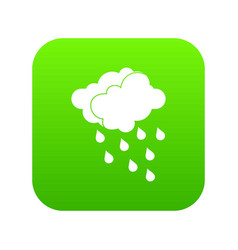 clouds and water drops icon digital green vector image