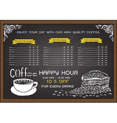 Coffee menu on chalkbaord vector image