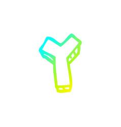 Cold gradient line drawing cartoon letter y vector