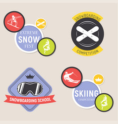 collection of ski and snowboarding logos emblems vector image
