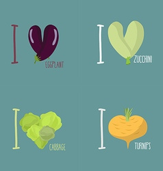 Collection of vegetables Set of I love eggplant vector image