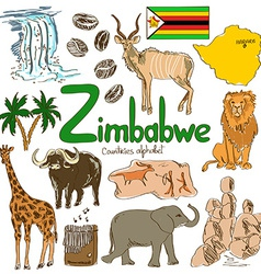 Collection zimbabwe icons vector