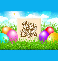 colorful eggs in a field of grass with blue sky vector image vector image