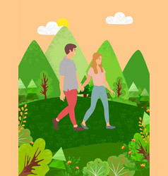 couple man and woman walking in forest among trees vector image