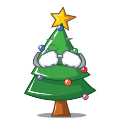 Crying christmas tree character cartoon vector