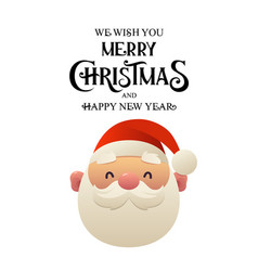 cute cartoon santa claus head on white background vector image