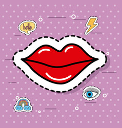 Cute red women lipstick fantasy icons sticker vector