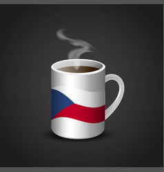 Czech republic flag printed on hot coffee cup vector