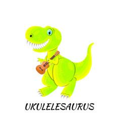 Dinosaur playing ukulele isolated on white flat vector