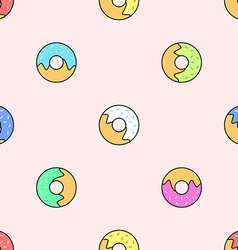 Donuts various colors seamless pattern vector