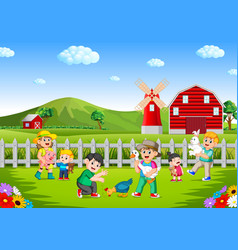 family and kids playing on the farm having fun vector image