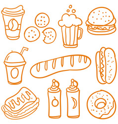 Fast food various of doodle set vector