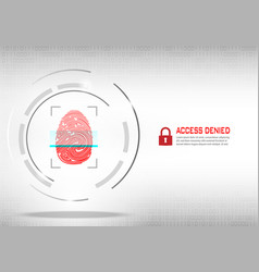 fingerprint scanning on digital white background vector image