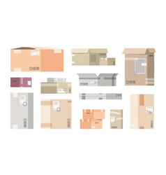 Flat cardboard boxes carton warehouse packs 3d vector