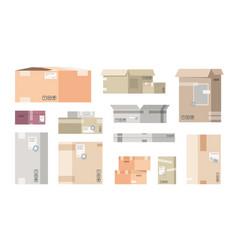flat cardboard boxes carton warehouse packs 3d vector image