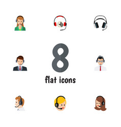 flat hotline set of headphone earphone help and vector image