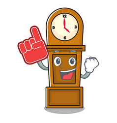 Foam finger grandfather clock mascot cartoon vector