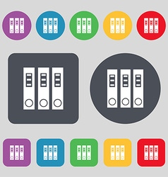 Folder icon sign A set of 12 colored buttons Flat vector image