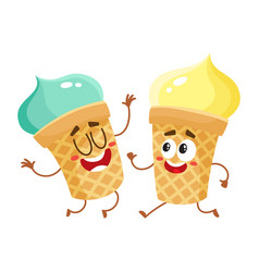 Funny smiling pistachio ice cream character in vector