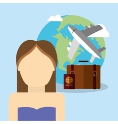 Girl character world plane travel vacation vector