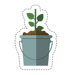 Green plant in a pot icon vector