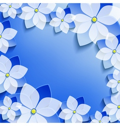 Greeting or invitation with blue 3d flowers sakura vector