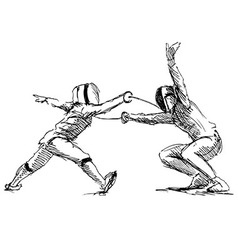 Hand sketch fencers vector image