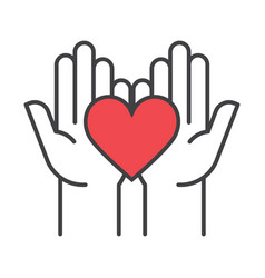 Heart in hands fundraising symbols vector