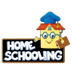 Home schooling theme sign 7 vector