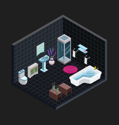 isometric black bathroom view vector image