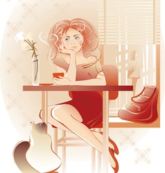 lady coffee vector image