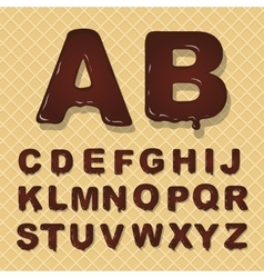 Latin capital alphabet made of chocolate vector