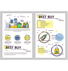 line art best buy poster banner template vector image