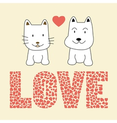 Love cat and dog2 vector
