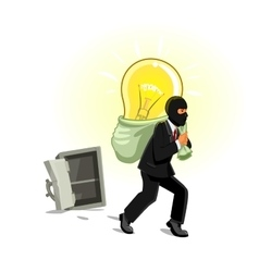 Man in mask stealing lamp from safe vector image