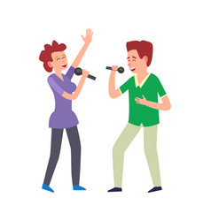 music performance by duo couple man and woman vector image