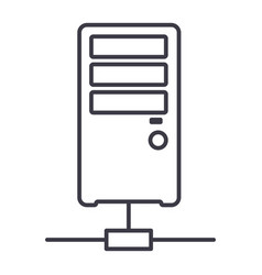 network server line icon sign vector image